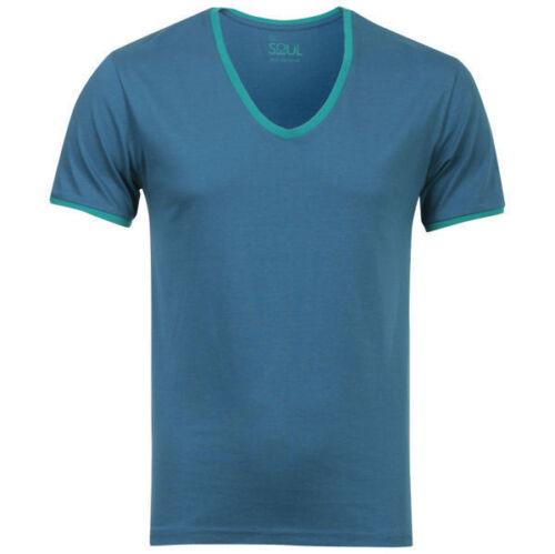 Camiseta para hombre cuello en V en Azul de 55 SOUL Talla XXL BNWT