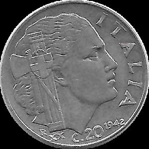 Italy Bin #E 1940 ITALY 20 CENTESIMI FREE SHIP Excellent Fascist WW2 Coin