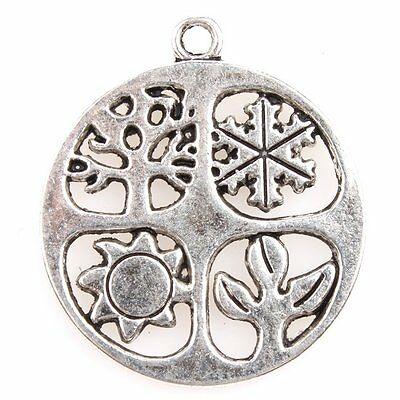 20pcs Round Antique Silver Charm With Sun Snow Grass Tree Pendant Findings BS
