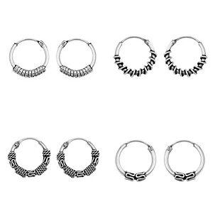 Sterling-925-Silver-Bali-Balinese-Hoop-Ring-Sleeper-Earrings-Ethnic-Boho