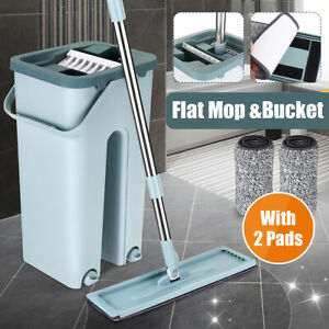 Flat-Squeeze-Mop-Bucket-Hand-Free-Wash-Wringing-Floor-Cleaning-Microfiber-Pads