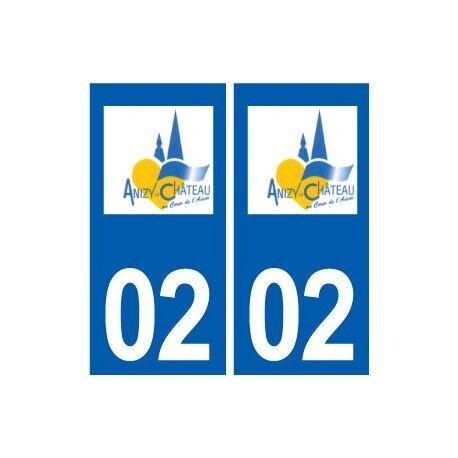 02 Anizy-le-château Logo Ville Autocollant Plaque Sticker - Angles : Droits