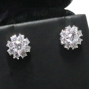 Sparkling-Cubic-Zirconia-Flower-Stud-Earring-Women-Jewelry-14K-White-Gold-Plated