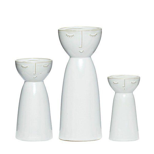 Hübsch Vasen Keramik Weiß (3-teilig)