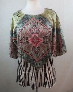 CHICOS-0-Womens-Peasant-Top-Blouse-Size-S-Boho-Paisley-Silky-Dolman-Sleeves