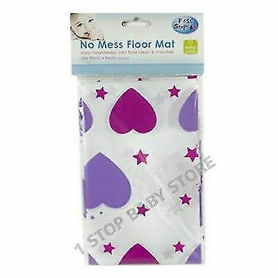 CHILDREN TODDLER HIGH CHAIR BABY FEEDING NO MESS FLOOR SPLASH MAT hearts pink