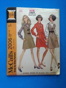 Vintage-1960s-McCall-039-s-Sewing-Pattern-2006-Dress-or-Blouse-amp-Jumper-Size-10