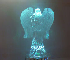 cristalloterapia CRISTALLO ANGELO GRANDE BASE LED COLORATA statua scultura anima