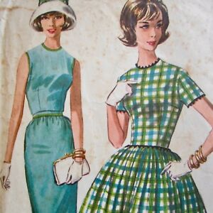 Size-14-Vintage-1960s-Sewing-Pattern-mcCalls-6121-Ladies-Dress-Bust-34-034-Used