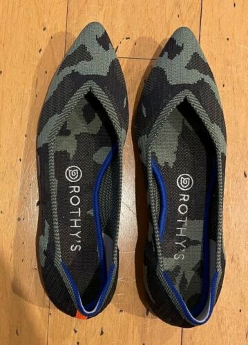 Rothys Camo Pointed Toe Flats Shoes 8