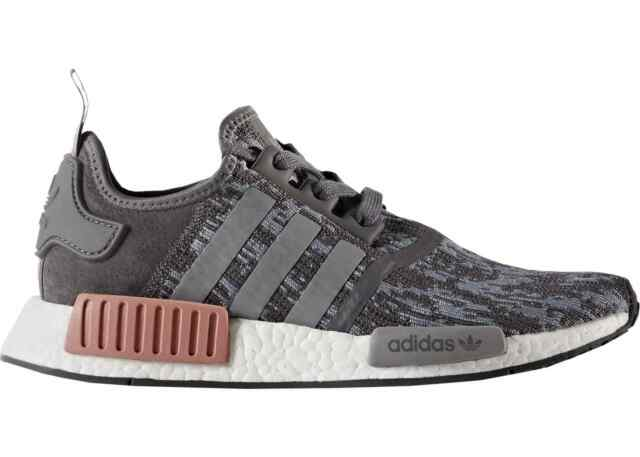Adidas NMD_R1 W Heather Grey Raw Pink White Running BY9647 (413) Women's Shoes