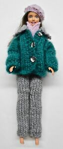 For-Barbie-Doll-Coat-with-Pants-Scarf-and-Beret