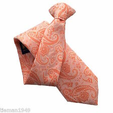 Orange and Peach Paisley High Quality British Made Clip On Tie