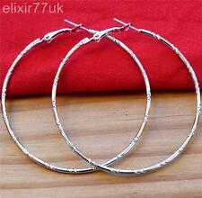 UK NEW SILVER LARGE ROUND HOOP EARRINGS 6CM SHINY FAB BIG GYPSY HOOPS  FREE GIFT