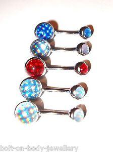 Babyblau 1.6mm X 10mm Blau Weiß SchöNe Lustre Holographische Bauch Stange Rot Lila