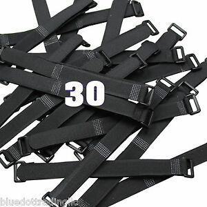 30 Quantity Durable Hook and & Loop Reusable Cable Tie Down Straps Kit 8 inch