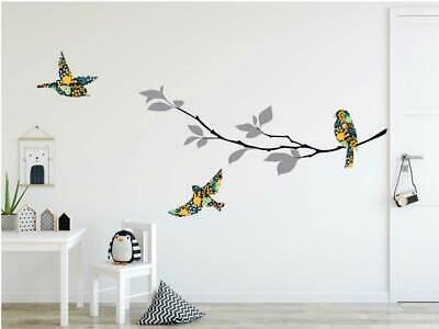 Rainbow Colour Branch Birds Wall Sticker Nursery Decor Kids Decal Gift Art DIY
