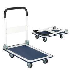 330lbs Platform Cart Folding Dolly Push Hand Truck Moving Warehouse White Amp Blue