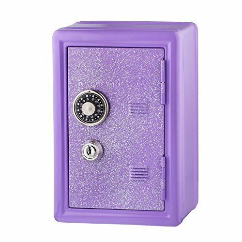 NEW Kids Safe Bank Made of Metal with Key and Combination Lock Purple