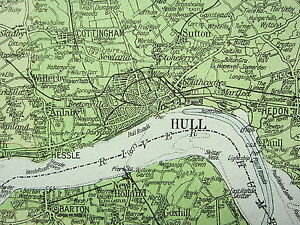 1919 LARGE MAP HULL LEEDS DISTRICT PHYSICAL SHEFFIELD EAST