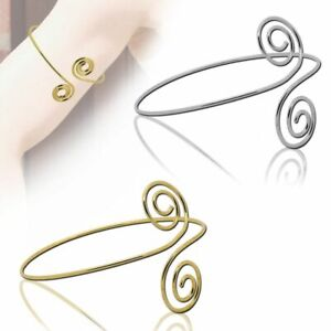 Armreifen-Spiralen-Silbern-Golden-Armband-Oberarmreif-Bangle-Accessoires-Vintage