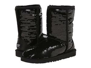 Womens Boots UGG Classic Short Sparkles Black