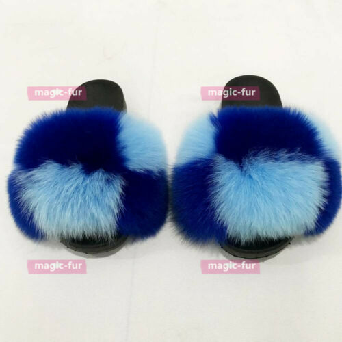 Blue Max Large XXL Real Fox Fur Slides Summer Slippers Sandals Shoes Sliders