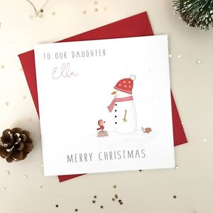 Merry Christmas Niece.Details About Handmade Personalised Christmas Card Snowman Daughter Granddaughter Niece