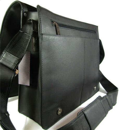 NEW VISCONTI HARVARD XL BLACK//BROWN//TAN LEATHER OFFICE WORK BAG ORGANISER STYLE