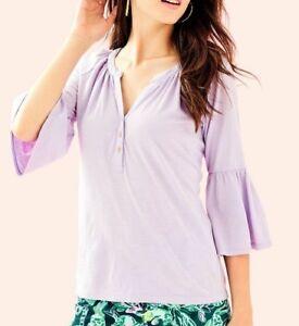 82d943fb9cdf6 NEW Lilly Pulitzer TEIGEN TOP Light Lilac Verbena Purple Blouse ...
