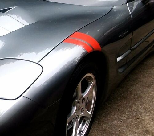 "2/""/&3/"" Red Vinyl Car FENDER HASH STRIPES Both Sides Fits Chevy CORVETTE C4"