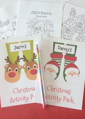 Personalised Christmas activity pack eve box gift children/'s stocking filler