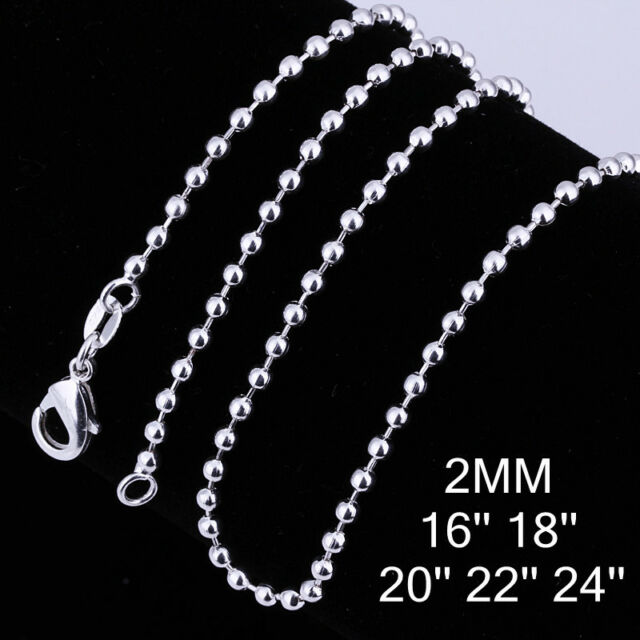 """Wholesale Solid Silver 2MM Bead Chain Round Ball Men Women Necklace 16""""-24"""" C002"""