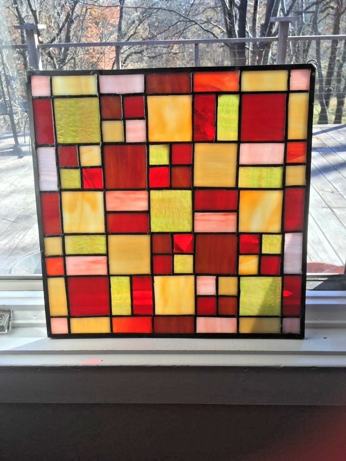 Patchwork Stained Glass Panel - Frank Lloyd Wright Palette