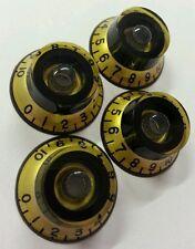 4 Guitar Top Hat volume/tone knobs. Inca Gold Met/Black. JAT CUSTOM GUITAR PARTS