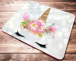 unicorn watercolor floral mouse pad desk accessories womens