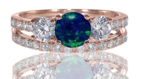 14k or Rose Rond Bleu Foncé Opale de Feu Fiançailles Mariage Bague Argent Set