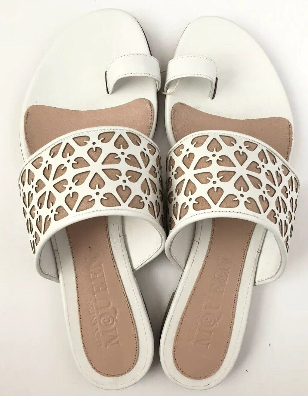Alexander McQueen mujer zapatos Talla 40 NIB blanco Flats Sandals Leather