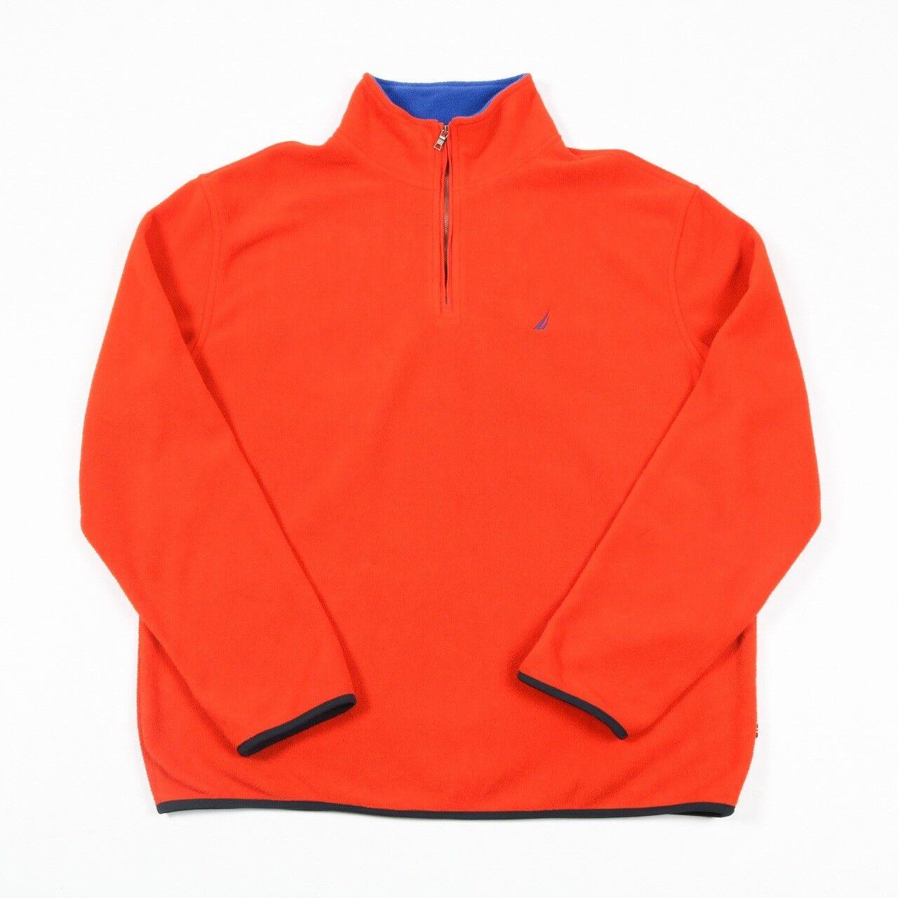 VGC 90s Vintage NAUTICA Quarter Zip Fleece   herren L   schweißhemd jacke 1 4