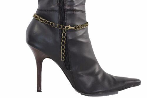 Women Boot Bracelet Antique Gold Metal Chain Anklet Fashion Shoe Big Round Charm