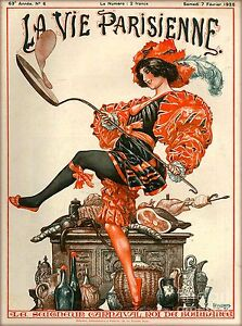 1920s La Vie Parisienne The Big Wave Beach Girl France French Travel Poster