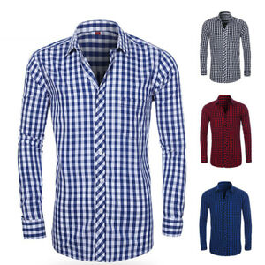 2019-New-Men-039-s-BUSINESS-BUTTON-DOWN-LONG-SLEEVE-Check-Casual-Dress-Shirts-GT403