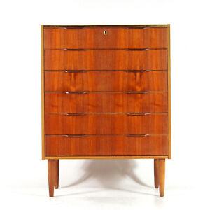 Retro-Vintage-Danish-Design-Teak-Tall-Boy-Chest-of-Drawers-50s-60s-Mid-Century