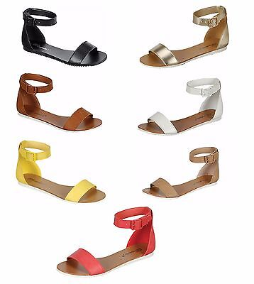 New Women Buckle Ankle Strap Contrast White Soles Gladiator Flat Sandals 5.5-11