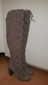 41976208208 Vince Camuto Thanta Over-The-Knee Suede Lace-Up Boot Zip 9M NEW