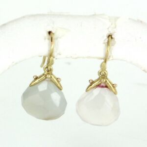 Image Is Loading Gabrielle Sanchez Chalcedony Drop Earrings Estate 18k Gold