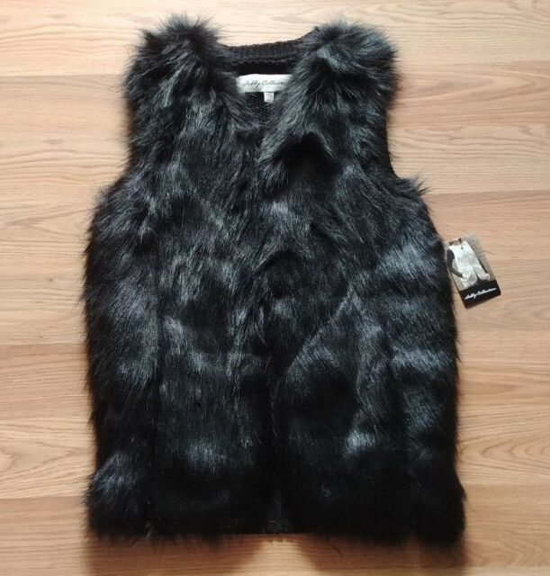 NWT Women/'s SEBBY Black Faux Fur Vest Jacket Size Small S
