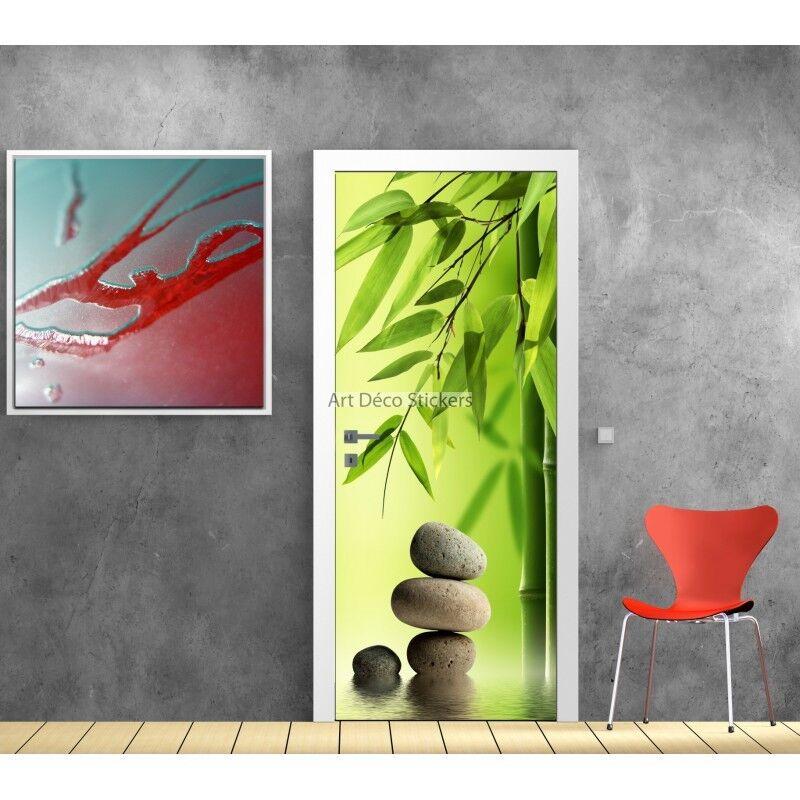 Aufkleber Tür Deko Kiesel Bambus Zen Ref 573 573