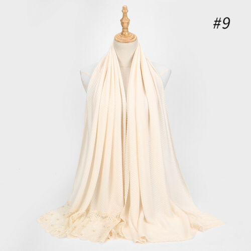 New Women Cotton Pearl Lace Flower Scarf Muslim Islamic Hijab Wrap Shawl Scarves