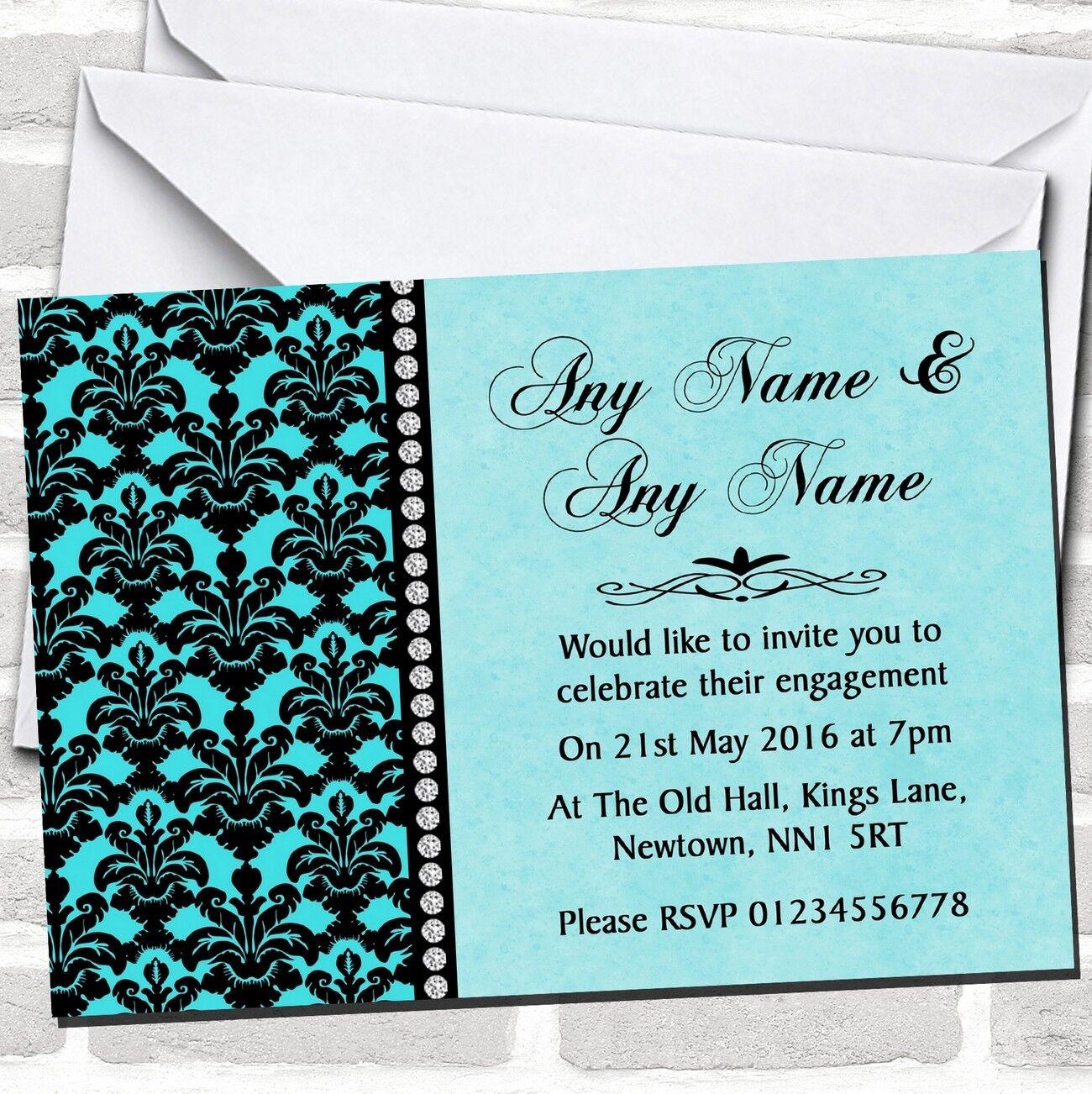 Aqua Cielo Azul Negro Damasco & invitaciones de fiesta de compromiso de diamante
